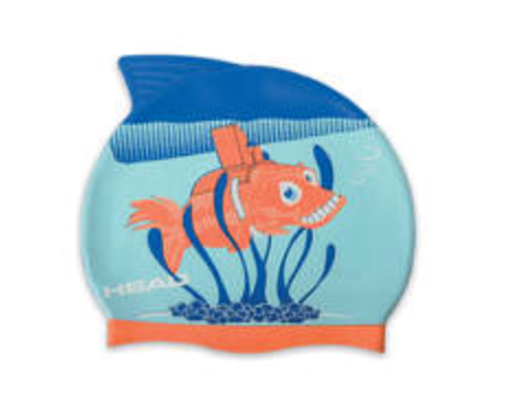 Kinderbadehaube blau-orange